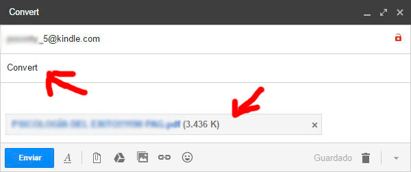 convertir pdf a .mobi y enviar a Kindle