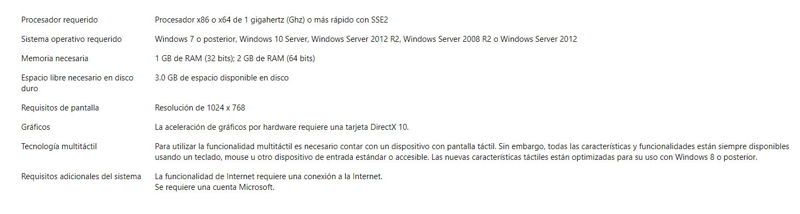 requisitos del sistema para instalar office 2016