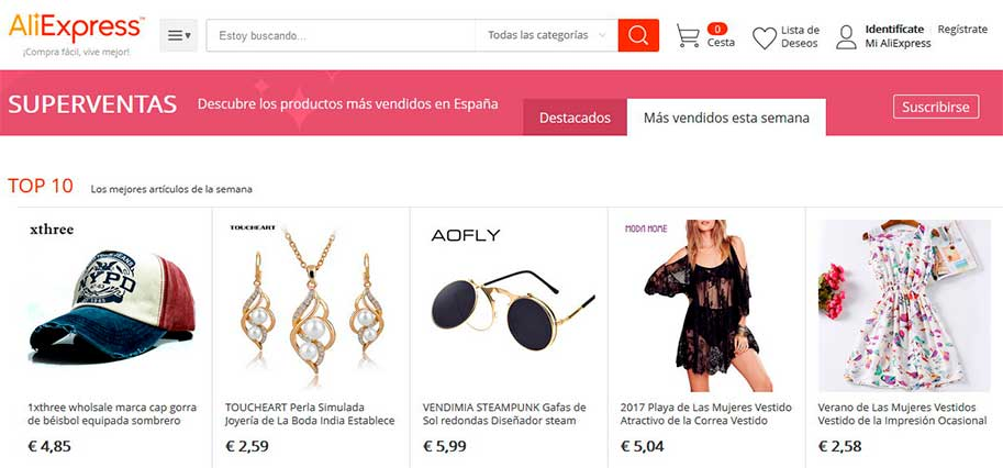 Páginas de superventas de Aliexpress