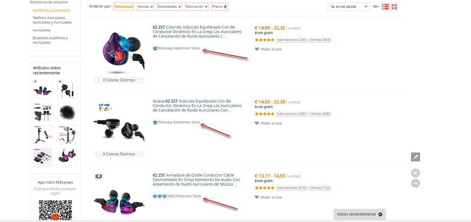 Varios vendedores de un mismo producto en Aliexpress