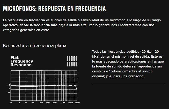 qué es la respuesta de frecuencia en los micrófonos