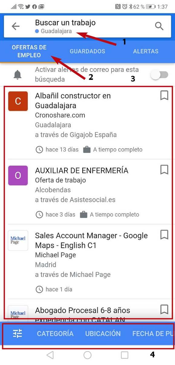 Buscador de trabajo de Google