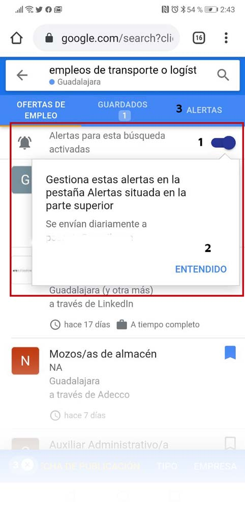 Cómo activar alertas de trabajo en Google