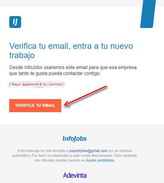 Confirmar correo de Infojobs