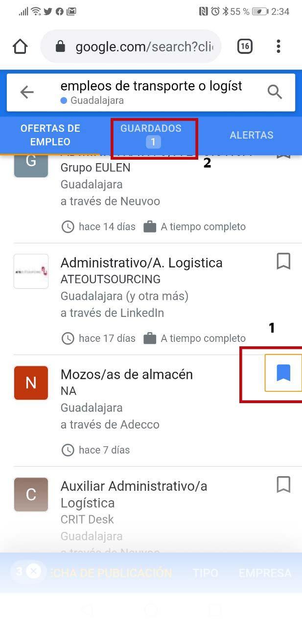 Guardar ofertas de trabajo de Google