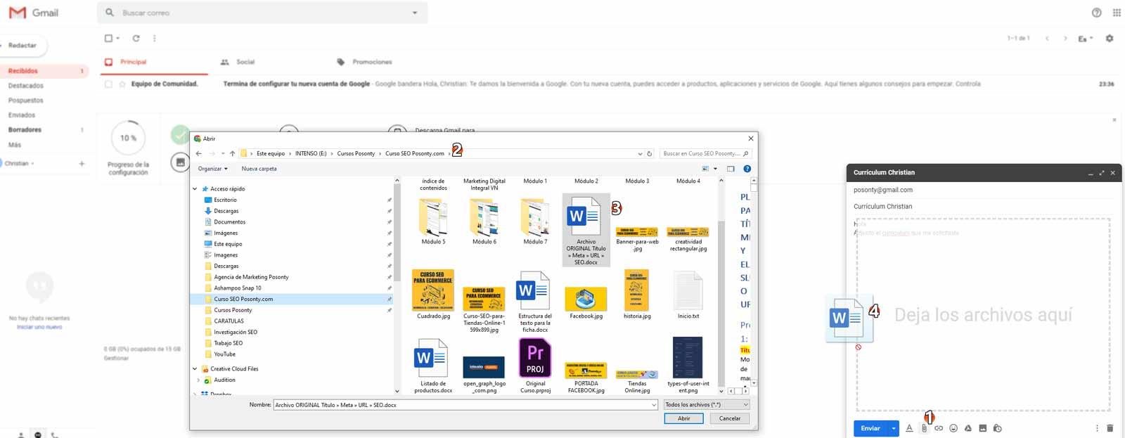 Cómo adjuntar curriculum en correo Gmail