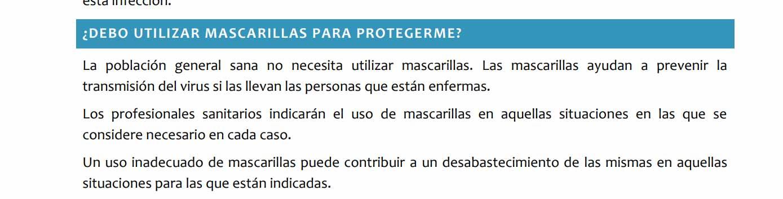 Información oficial mascarillas coronavirus